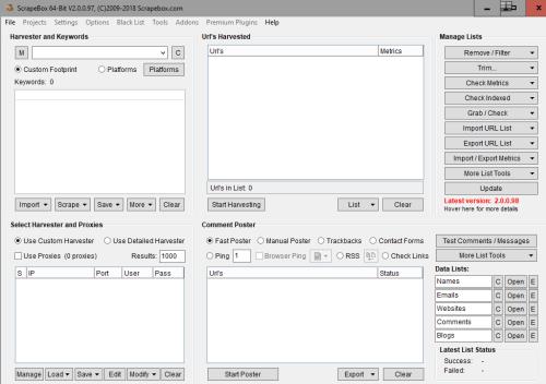 interface du logiciel scrapebox utilisé parfois pour le black hat seo